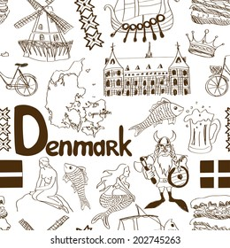 Fun sketch Denmark seamless pattern
