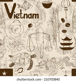 Fun sketch Vietnam seamless pattern