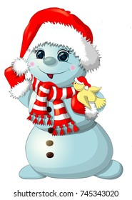 Fun snowman isolated. Christmas snowman. Snowman with bird.