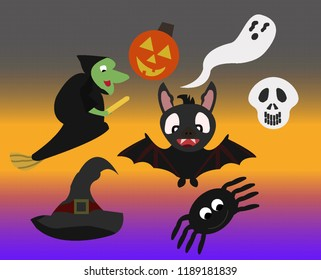 A fun and spooky set of Halloween themed characters to be used as symbols or icons.