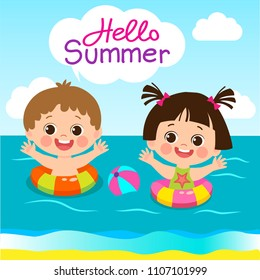 Fun Summer Activities For Kids. Summer Kids Vector. Happy Children Playing On The Beach Flat Vector Illustration. Cute Boy And Girl With Swim Ring Playing At The Beach In Summer Time.