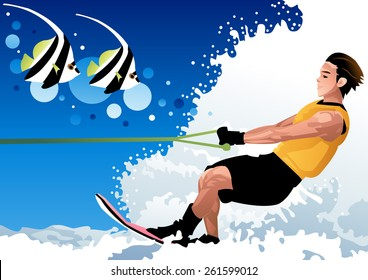 Fun Summer Vacation - healthy athletic man riding water ski with cute pennant coral fish at tropical island on blue background with splash and bubble patterns : vector illustration