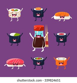 Fun sushi and sashimi. Japanese Food with cute faces, happy. Vector illustration set