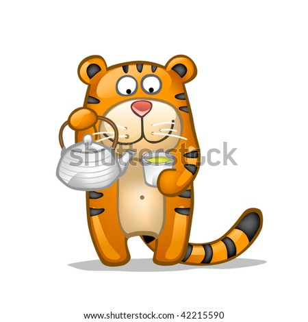 fun tiger with green tea