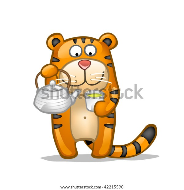 fun tiger with green tea