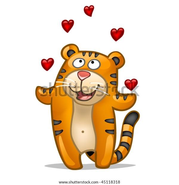 Fun tiger in love