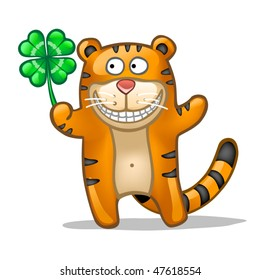 Fun tiger with lucky leaf clover