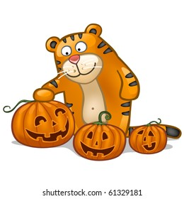 Fun tiger with pumpkin