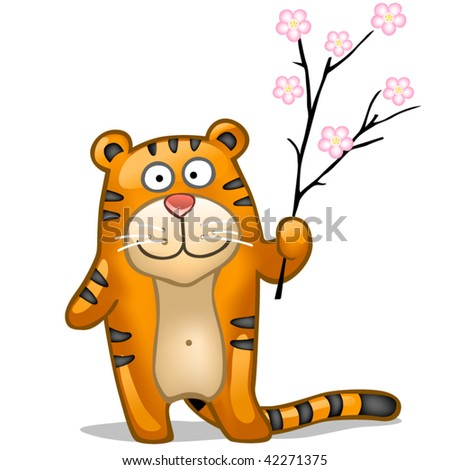 fun tiger with sakura