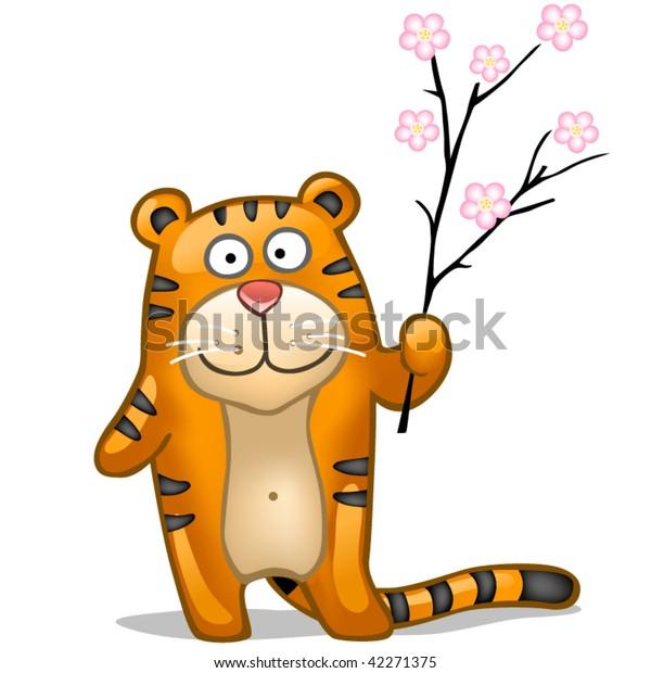 fun tiger with sakura