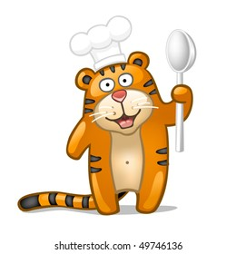 Fun tiger with spoon