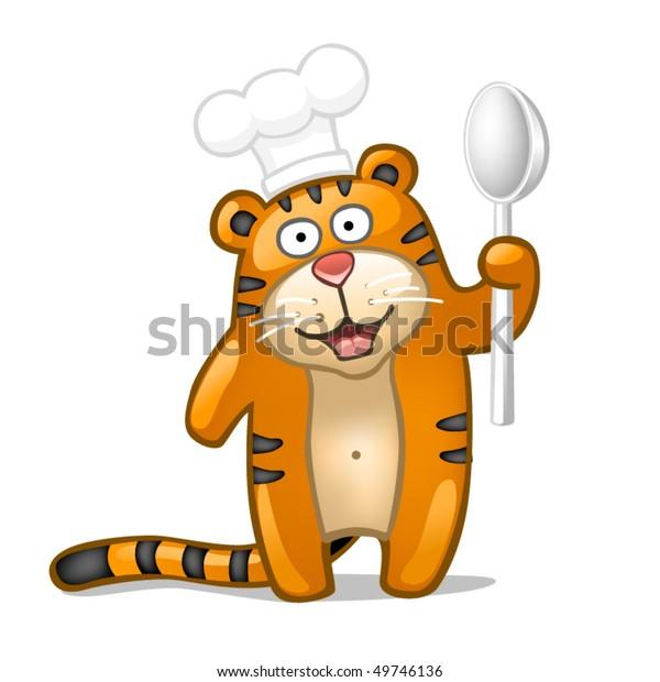 Fun tiger with spoon