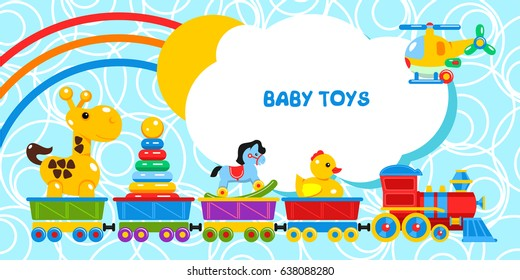Fun train carries children's toys. The cars go giraffe, pyramid, rocking horse, duck. The helicopter flies. The sun and the rainbow from behind the clouds .Vector illustration.