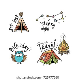 Fun travel emblems, logos or badges for big adventures. Isolated vector illustrations for camping and outdoors. Set with owl, tent and stars