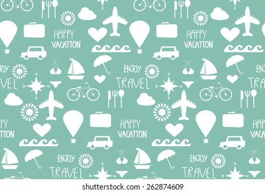 fun travel seamless pattern, tourist , Holidays and vacation. vector,  Pattern Swatches, Endless texture can be used for wallpaper, pattern fills, web page,surface