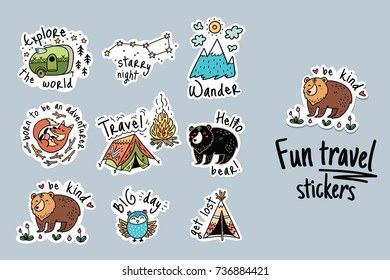 Fun travel stickers and patches for big adventures. Isolated vector illustrations for camping and outdoors