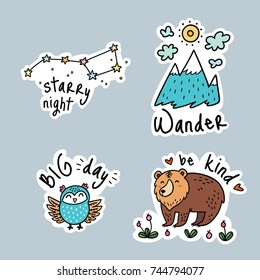 Fun travel stickers and patches for big adventures. Isolated vector illustrations for camping and outdoors. Set with mountain, owl, grizzly and stars