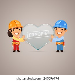 Fun Valentines Day Poster with Couple Workers. In the EPS file, each element is grouped separately.