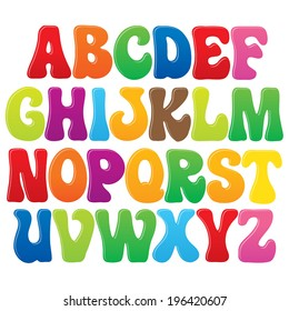 Fun vector font for kids - 3 Upper case letters