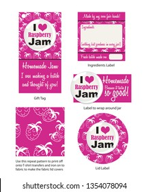 Fun vector Raspberry Jam labels and stickers