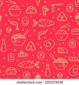 Fun vector seamless pattern with japanese food like sushi, rice, rolls, fish. Red and yellow colors. Smiling faces, iconic style, line art.