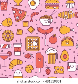 Fun vector seamless pattern with restaurant and fast food like coffee, pizza, wafer, burger, ice cream and chinese plates. Pink, red and yellow colors. Smiling faces, iconic style, line art.