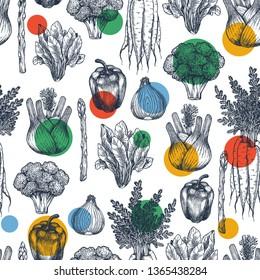 Fun vegetables seamless pattern. Broccoli, carrot, onion, pepper, spinach, asparagus, fennel engraved vintage illustration. Vector illustration