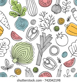 Fun vegetables seamless pattern. Linear graphic. Vegetables background. Scandinavian style. Healthy food. Vector illustration