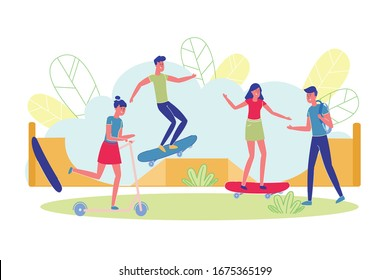 Fun Weekends in Skate Park for Teenagers, Cartoon. Young People have Fun in Special Place for Riding on Skateboard, Scooter and Roller Skates. Boys and Girls Make Turns on Steep Slides.