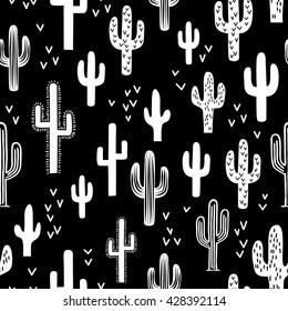 Fun Western Cactus Seamless Repeat Wallpaper Tile - Black & White Monochromatic
