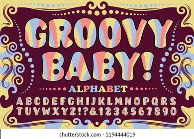 A fun and whimsical 1960s or 1970s style alphabet. Groovy Baby is a psychedelic hippie font in bright pastel colors.