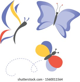 Fun whimsical butterflies in flat style