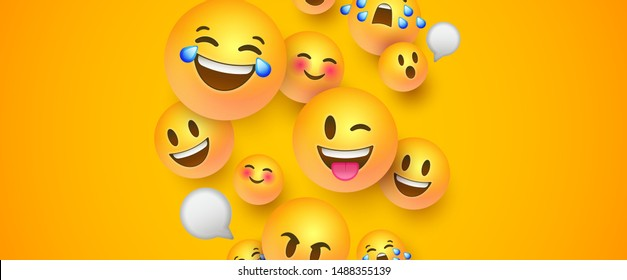 Fun yellow emoticon faces background with copy space. 3D social smiley face icons includes chat bubble, happy, cute and funny emotion.