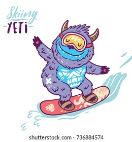 Fun yeti snowboarding. Cute cartoon character monster. T shirt graphics, extreme print, sport.