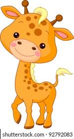 Fun zoo. Illustration of cute Giraffe