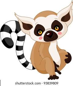 Fun zoo. Illustration of cute Lemur