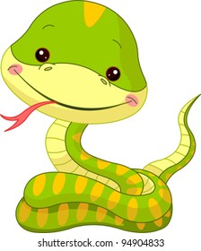 Fun zoo. Illustration of cute Snake
