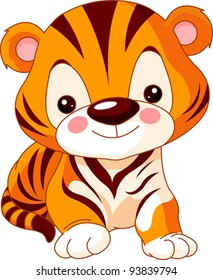 Fun zoo. Illustration of cute Tiger