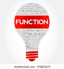 FUNCTION bulb word cloud, business concept