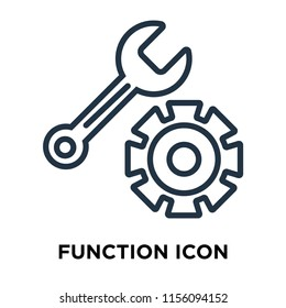 Function icon vector isolated on white background, Function transparent sign , thin symbols or lined elements in outline style