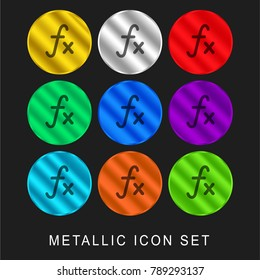 Function mathematical symbol 9 color metallic chromium icon or logo set including gold and silver