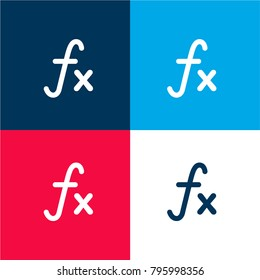 Function mathematical symbol four color material and minimal icon logo set in red and blue