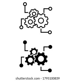 Function settings icon vector set. editable illustration sign collection. automated system symbol.