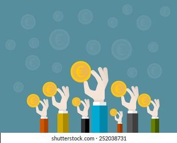 Fund raising concept . Flat design illustration