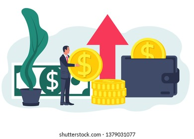 Funding concept. Vector illustration flat design. Isolated on white background. Business assistant. Investment management. Businessman with cash stacks. The accumulation of money. Economy of funds.