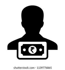Funding icon vector male user person profile avatar with Rupee sign currency money symbol for banking and finance business in flat color glyph pictogram illustration
