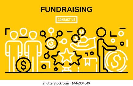 Fundraising banner. Outline illustration of fundraising vector banner for web design