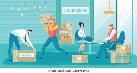 Fundraising Charity Vector illustration. Cartoon Volunteer Collect Donation in Boxes. Donate Food Clothes for Refugee, Orphan, Homeless People. Nonprofit Organization. Humanitarian Aid