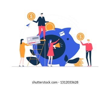 Fundraising concept - colorful flat design style illustration on white background. A composition with male, female characters donating money, supporting social campaign, fund, image of a piggy bank