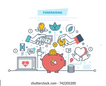 Fundraising concept. Fundraising event, volunteer center. Donation in heart form. Charitable foundations, help people and donation, helping the needy people. Illustration thin line design.